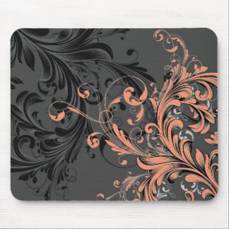 Black and White Floral Flourish Mouse Pad