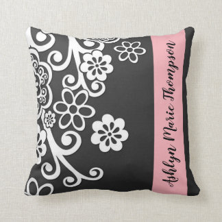 Black and White Floral Flower Pink Stripe Name Throw Pillow