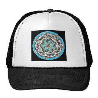 Black And White Floral  Kaleidoscope Trucker Hat
