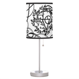 Black and White Floral Love Lamp