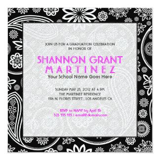 Black And White Floral Paisley-Elegant Grad Invite