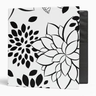Black and White Floral Pattern 3 Ring Binder