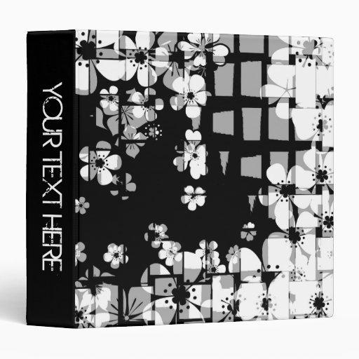 Black and white floral pattern and modern design vinyl binder