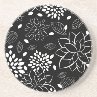Black and White Floral Pattern Coaster