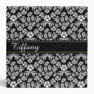 Black and White Floral Pattern Custom Binder