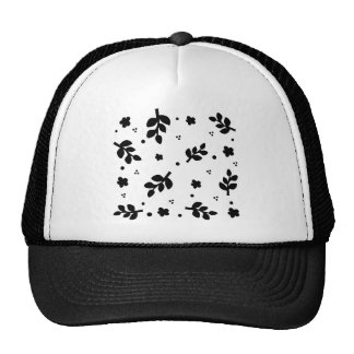 Black and White Floral pattern Hats
