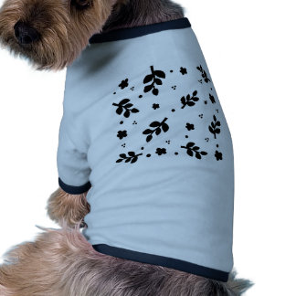 Black and White Floral pattern Pet Tshirt