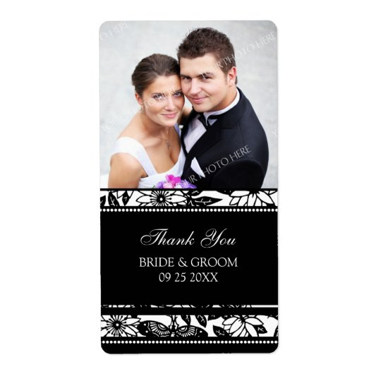 Black and White Floral Photo Wedding Labels