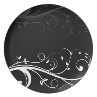 Black and White Floral Plates