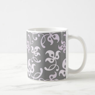Black And White Floral Print Coffee Mugs