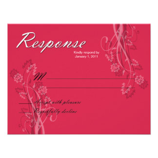 Black and White Floral RSVP Response Cards Custom Invitation