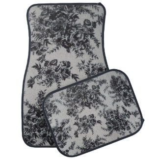Black and White Floral Set of 4 Car Mats