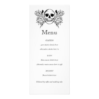 Black and white Floral skull tattoo menu