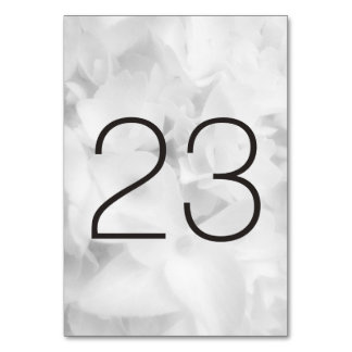Black and White Floral Table Number Cards