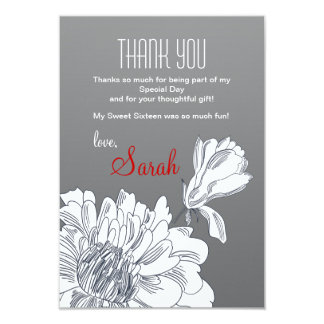 """Black and White Floral Thank You Card 3.5"""" X 5"""" Invitation Card"""