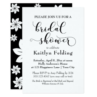 Black and White Floral Typography Bridal Shower, b Card