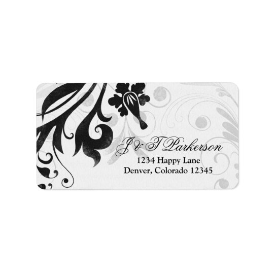 Black and White Floral Wedding Address Label