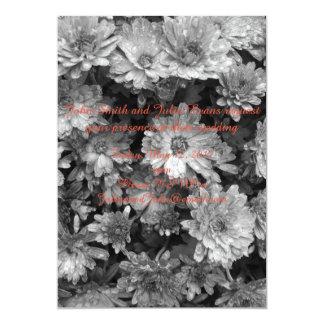 black and white floral wedding invitation