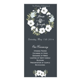Black and White floral wedding program Custom Rack Card