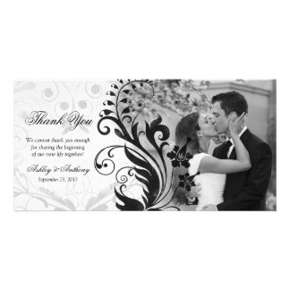 Black and White Floral Wedding Thank You Photocard Customized Photo Card