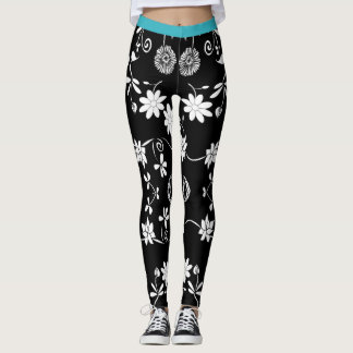 Black and white floral with blue waistband leggings