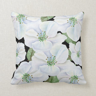 Black and White Floral with Faux Gold Dots Throw Pillow