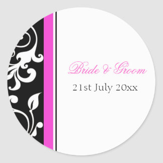 Black And White Floral With Hot Pink Favor Label