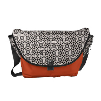 Black and white floreal commuter bag