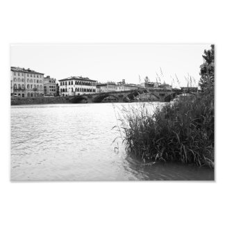 Black and White Florence River Arno Photograph
