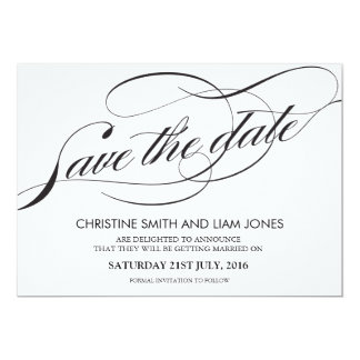 Black and White Flourish Swirl Save The Date Card