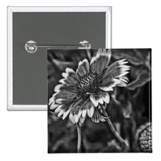 Black and White Flower Button