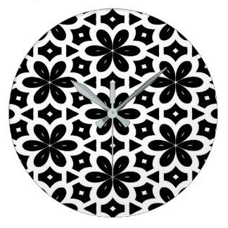 Black and White ( flower design) by Julie Everhart Large Clock