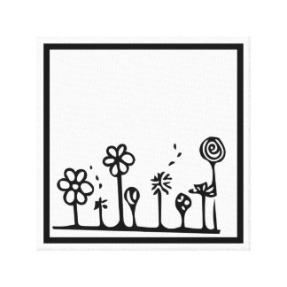 Black and White Flower Drawing Painting Canvas Print