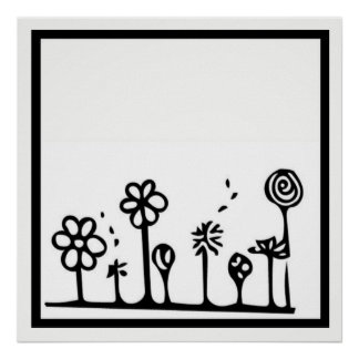 Black and White Flower Drawing Poster