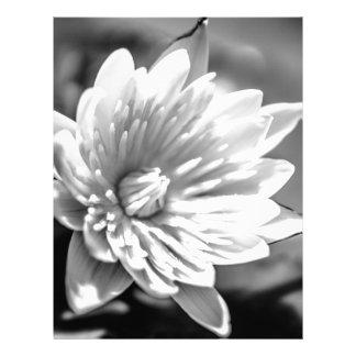 Black and White Flower Letterhead