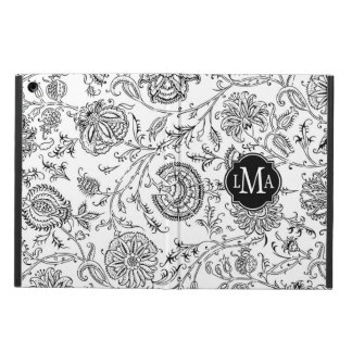 Black and White Flower Pattern Monogram Cover For iPad Air