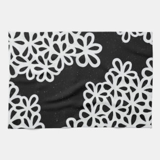 Black and White Flower Petals Kitchen Towel
