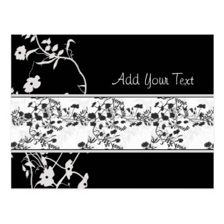 BLACK AND WHITE FLOWER SCROLL POSTCARD
