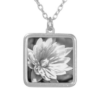 Black and White Flower Silver Plated Necklace