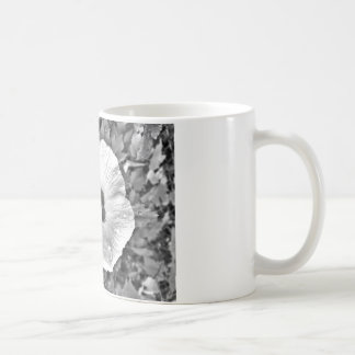 Black and white flower with raindrops on it MUG