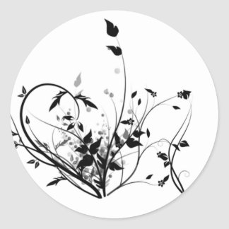 Black And White Flowers Classic Round Sticker