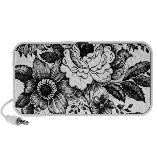 Black and White Flowers Floral Bouquet Travelling Speaker