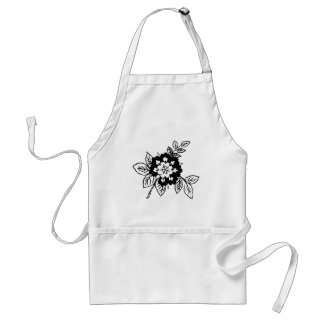 Black and White Flowers Standard Apron