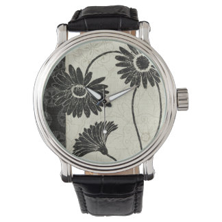 Black and White Flowers Wristwatches