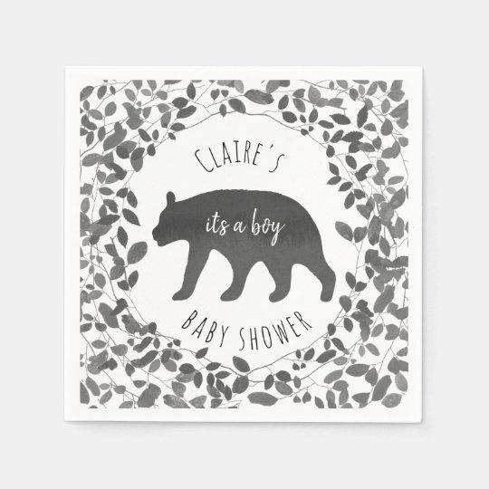 Black and White Foliage Bear Cub Baby Shower Paper Napkin
