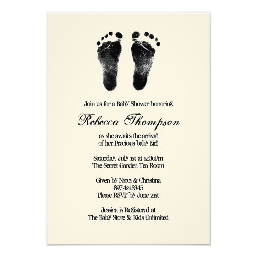 Black and White Foot Prints Baby Shower