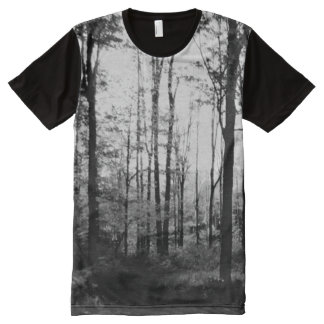 Black and White Forest All Over Print T Shirt