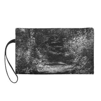 Black and white forest print women's mini-clutch wristlet