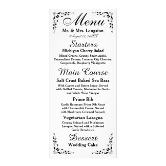 Black and White Formal Reception Menu Full Colour Rack Card
