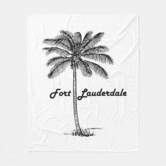 Black and White Fort Lauderdale & Palm design Fleece Blanket